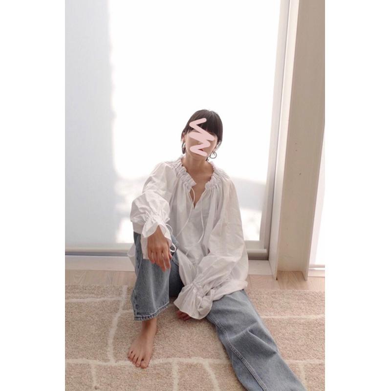 山梨自制 日系小众复古CLAN松本惠奈款系带宽松棉麻衬衫防晒罩