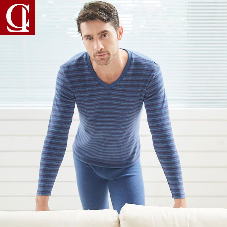 仕乐 纯棉男士秋衣秋裤套装舒绒加厚条纹保暖内衣男式全棉毛衫