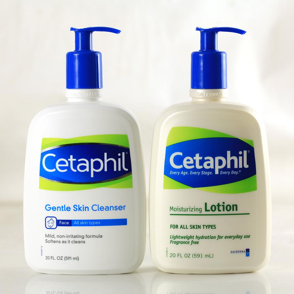 局部免邮Cetaphil丝塔芙套装 温和洗面奶591ML+保湿润肤露591ML