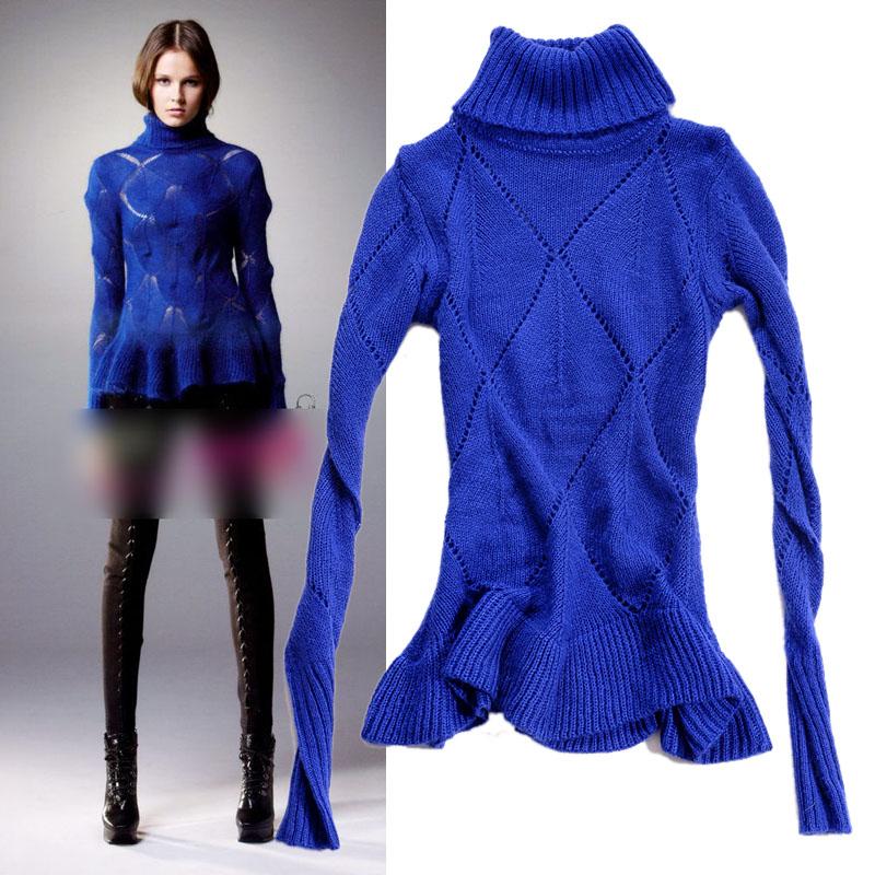 Европейский тканый мохера ажурной алмаз женщин водолазку свитера тонкий тонкий версия