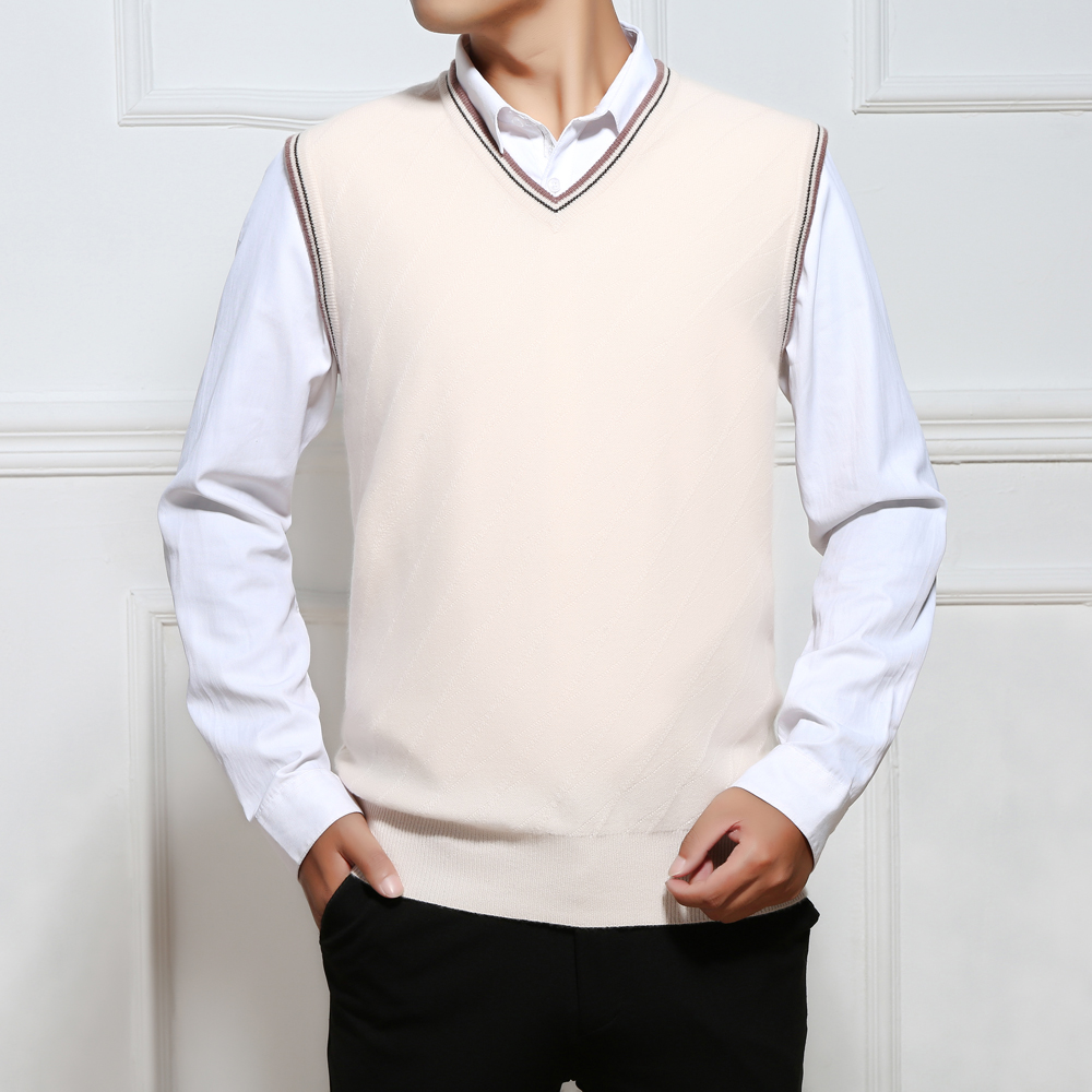 Made from Inner Mongolia worsted pure cashmere vest mens thickened warm loose mature bottomed wool vest q39