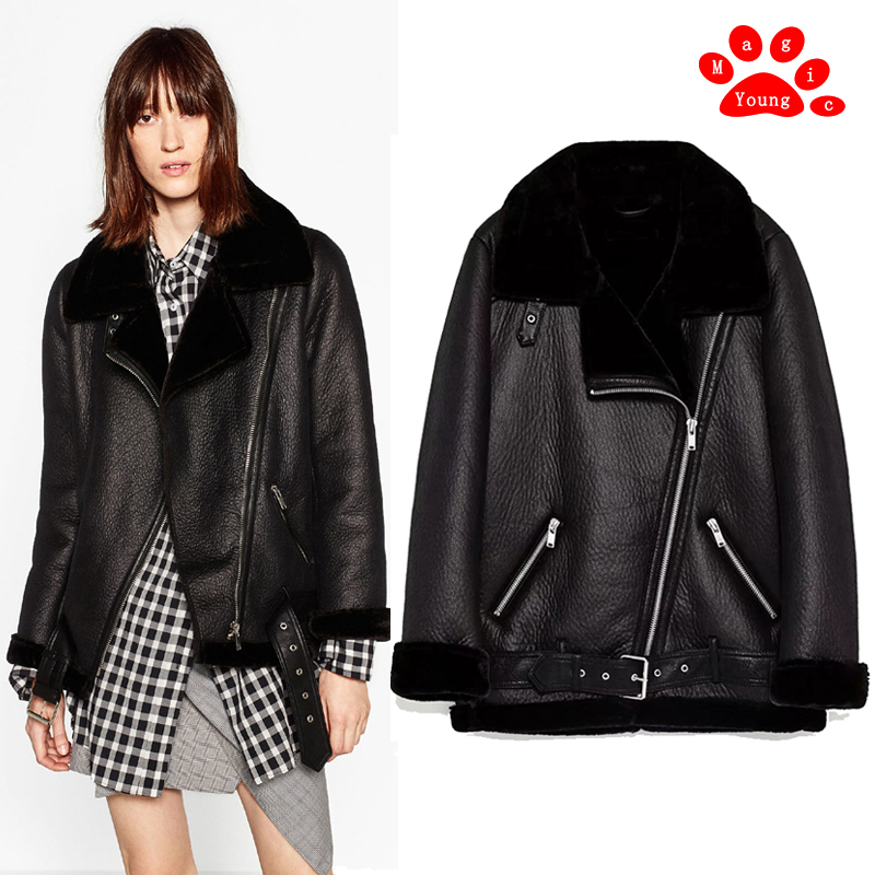 Fur collar fur body womens medium length PU leather with thick velvet lining Parker Motorcycle Jacket Coat winter long sleeve