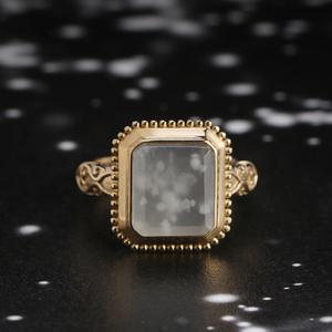 中国设计师卢思羽-落雪无声 天然A货翡翠戒指18k黄金女戒欧式复古