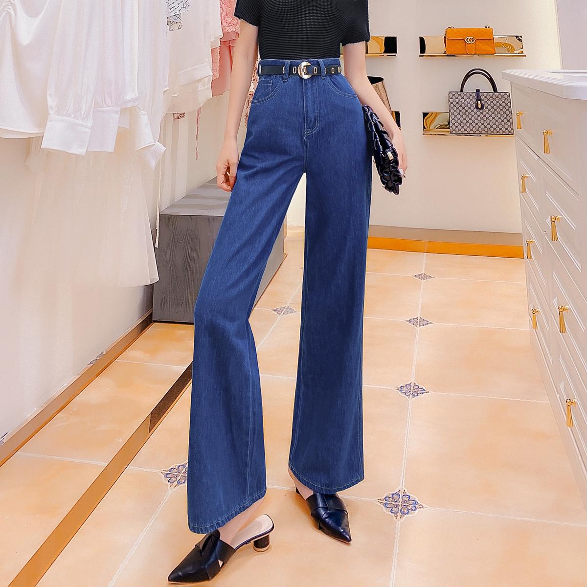 牛仔裤女2020年新款夏季薄款高腰显瘦显高宽松百搭阔腿裤配腰带