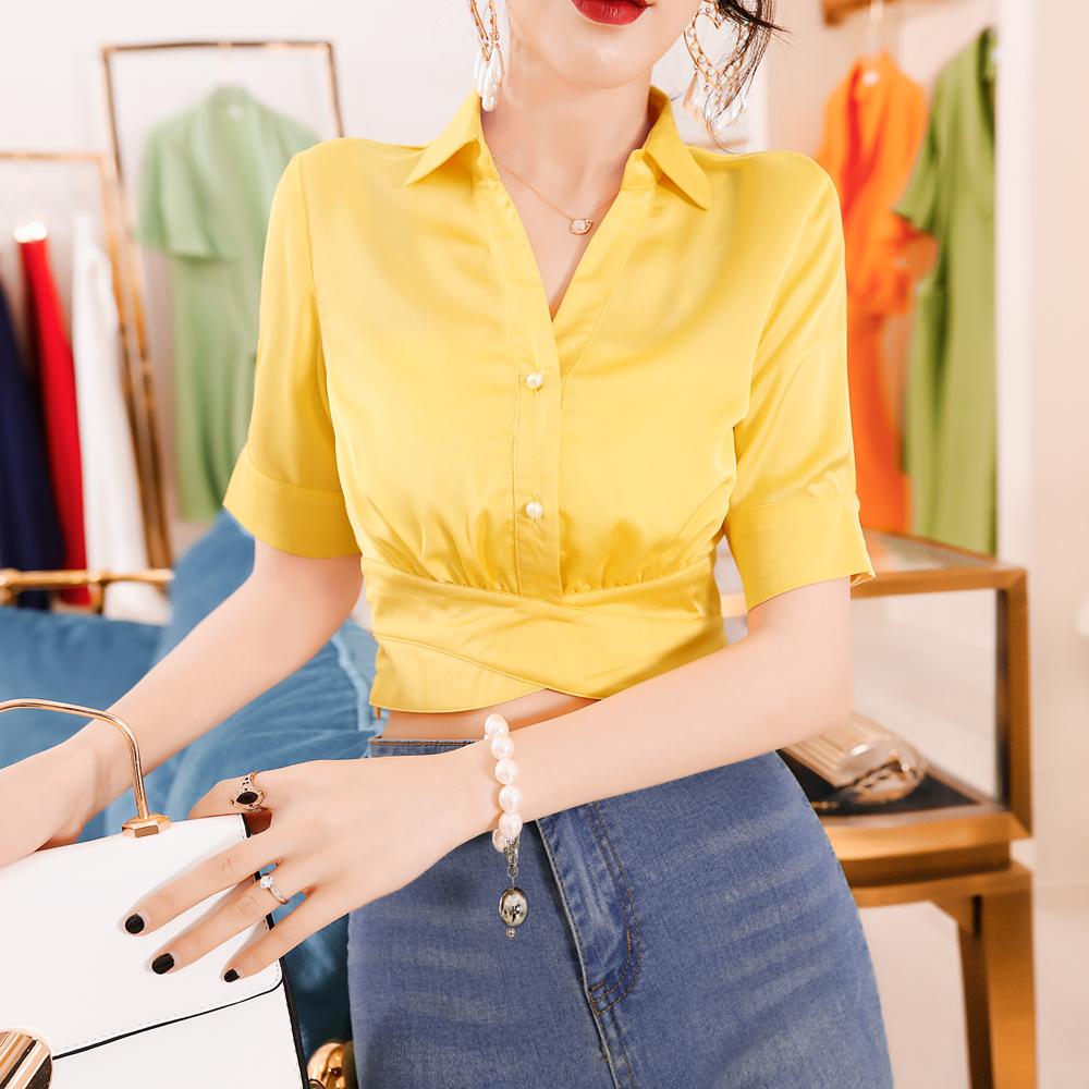 韩衣女王小众设计感2019夏季衬衫(用5元券)