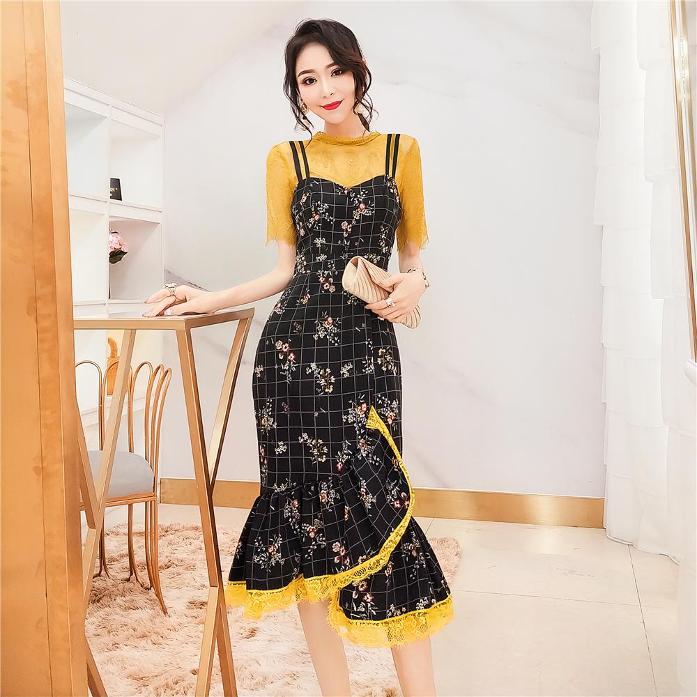热销20件假一赔十韩衣女王蕾丝两件套2019山本连衣裙