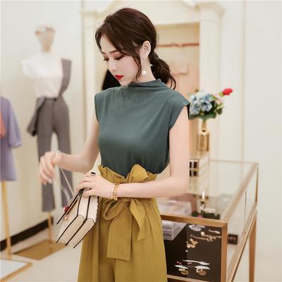 韩衣女王2021夏装新款冰丝棉半高领无袖T恤女纯色打底上衣显瘦潮