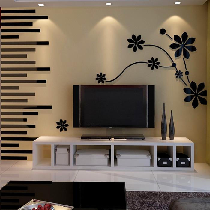樱花飞舞亚克力3d立体墙贴贴画客厅沙发电视背景墙装饰自粘装饰品18.00元包邮