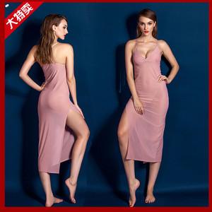 欧美外贸透明吊带蕾丝睡衣长裙情趣内衣网纱开叉睡裙连衣裙套装