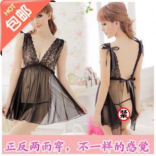 Sexy transparent lure big yards female fun pajamas sexy lingerie lace temptation to suit real uniforms nightgown