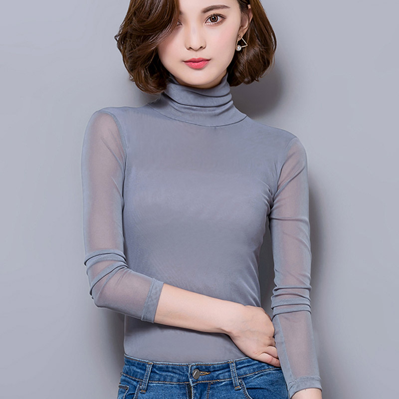 2021 autumn and winter clothes new large solid color mesh bottomed shirt high collar with lace shirt top long sleeve T-shirt women
