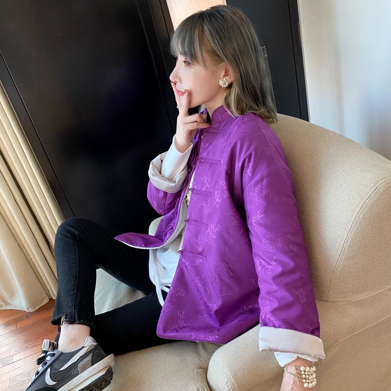 SZOS中国风紫色提花日常唐装旗袍款外套宽松女冬季拜年棉袄上衣潮
