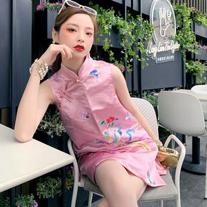 高端定制小众改良旗袍女装2020夏季新款粉色刺绣凤凰中国