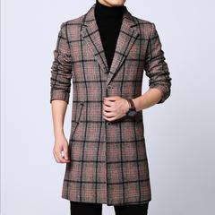 FY9003秋季男士新款风衣青少年休闲中长款大码外套西装领大衣P135