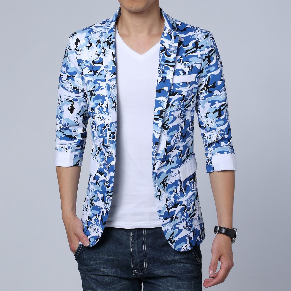 夏季男士修身迷彩西服大码休闲七分袖小西装潮QT713A-XF2001-P110