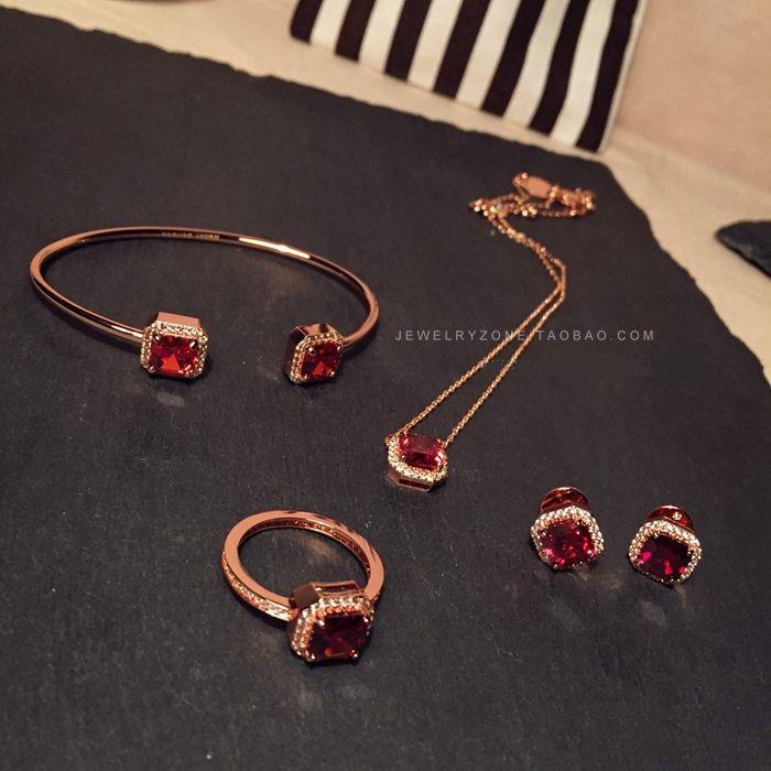 Henri Bendel红石榴锆石 超美 项链 手镯 戒指