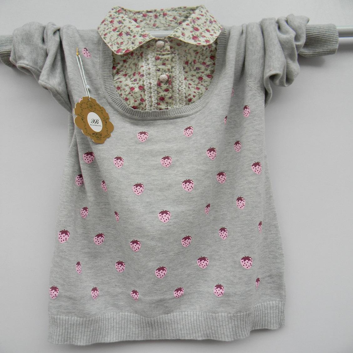 2015 новых детей одежда девушки хлопок два кусок свитер большие девочки ребенка рубашку длинные свитер рубашки