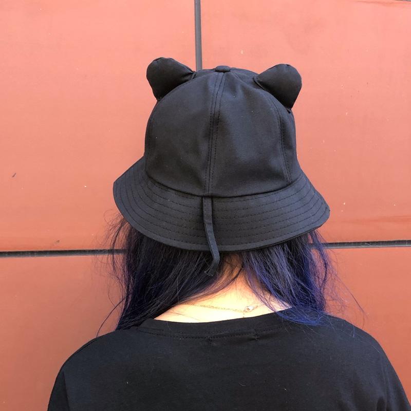 太陽の帽子の子供の韓国版はかわいいです。猫の耳と漁夫の帽子を持っています。