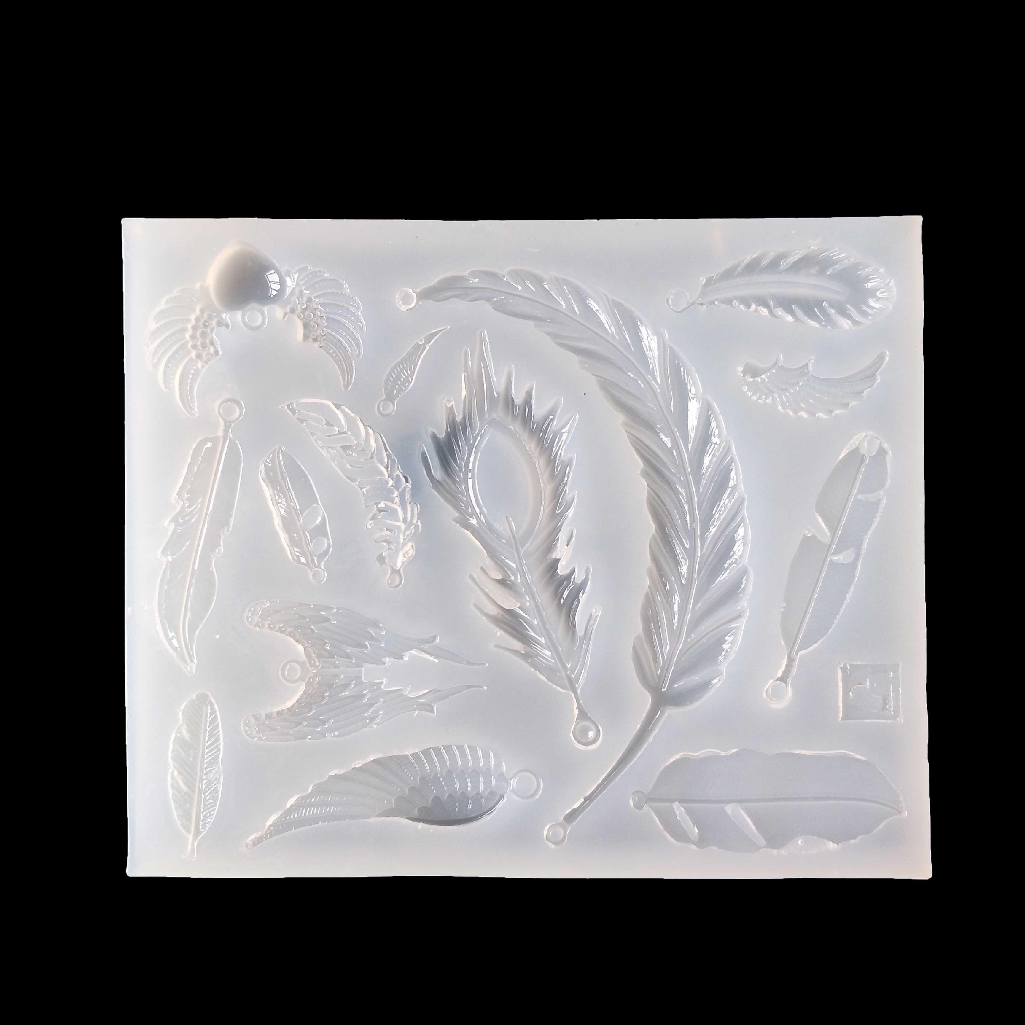 羽毛翅膀卡通水晶滴胶 UV胶硅胶 水晶滴胶模具镜面S141