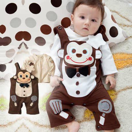 Email хлопок младенца обезьяны шеф-повар весной и летом платья детское платье ребенка Комбинезоны комбинезон рубашки набор