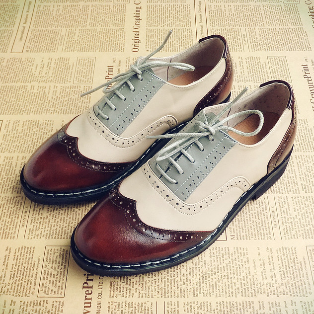 Europe, America, England, college style, vintage, handmade Oxford Shoes, brogue real leather, Brock mens and womens contrast single shoes