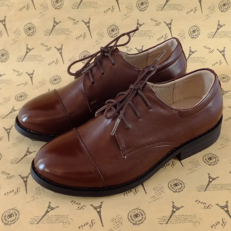 European station British style retro brogue block Oxford Shoes really soft leather hand made mens and womens pointed single shoes