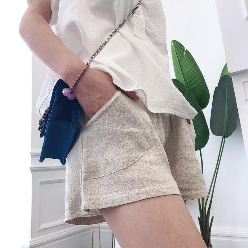 2020春夏新款棉麻品质孕妇裤托腹休闲宽松短裤高腰拖腹可调节大小