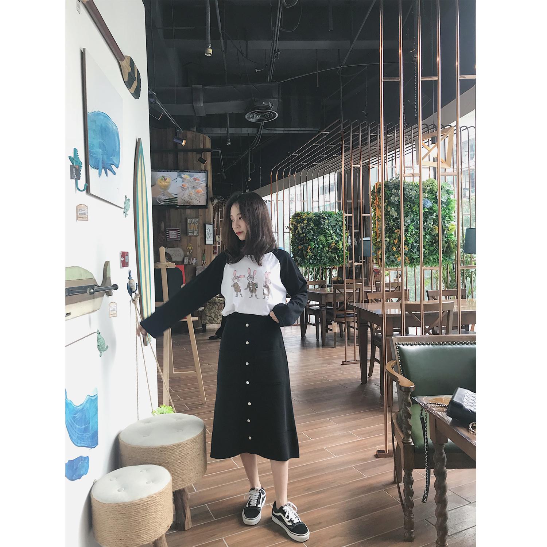 MINI XIN 2018秋季新款针织半身裙定制排扣中长款包臀A版裙