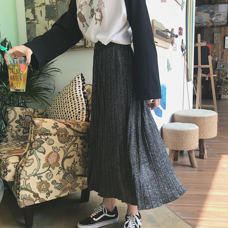 MINI XIN 2018秋季新款针织半身裙中长款伞裙韩版学生百搭
