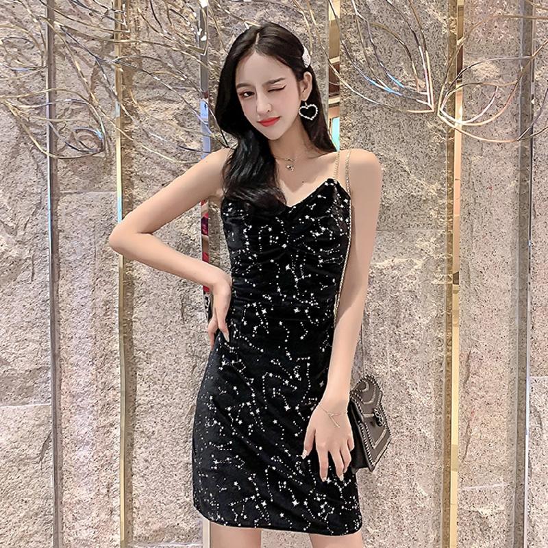 2021现货-新款法式丝绒V领修身外穿打底吊带裙星空亮片连衣裙