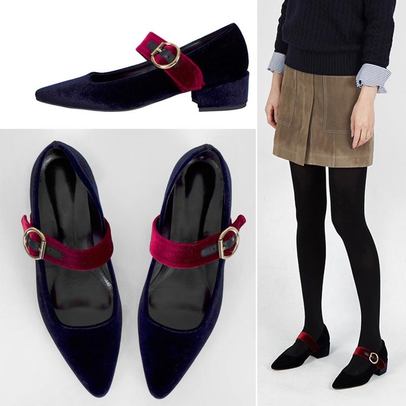 韩国复古天鹅丝绒面尖头单鞋浅口中跟粗跟高跟一字扣带玛丽珍女鞋