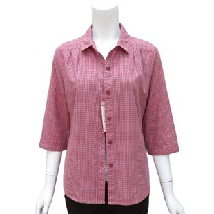 妈妈装夏装纯棉七分袖小细格子衬衣中老年中袖全棉大码衬衫老太太