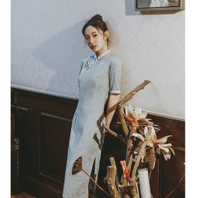 日常改良旗袍年轻款少女淡雅连衣裙