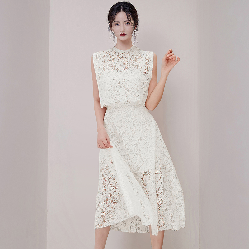 Only s real shot 373 2020 spring and summer new brand temperament celebrity lace sweet two piece dress