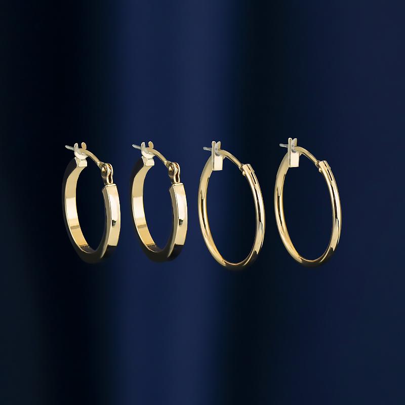 恒蕴14K黄金夹扣款素圈耳环时尚极简方形环耳饰百搭耳饰生日礼物