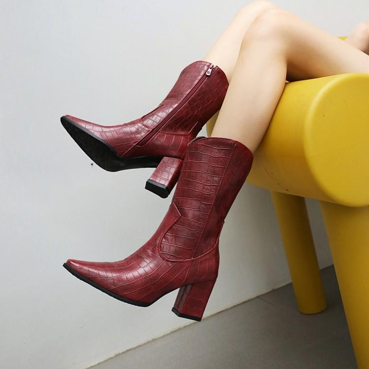 32-48 European and American sexy autumn and winter high heeled womens boots stone grain small square head side zipper Knights boots middle boot e579