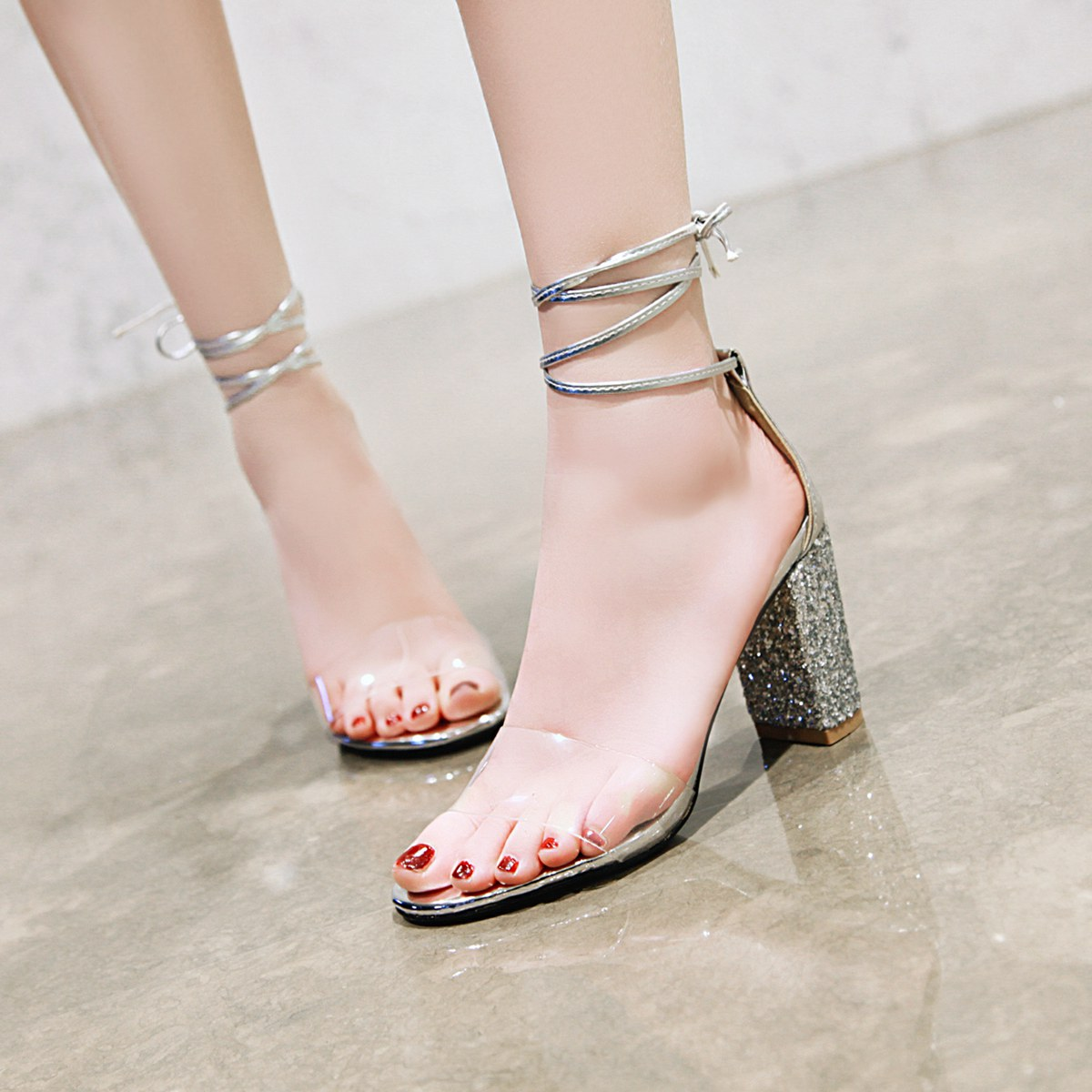 40-48 transparent ankle strap Korean thick heeled sandals summer Sequin lace up open toe high heeled womens sandals 3877