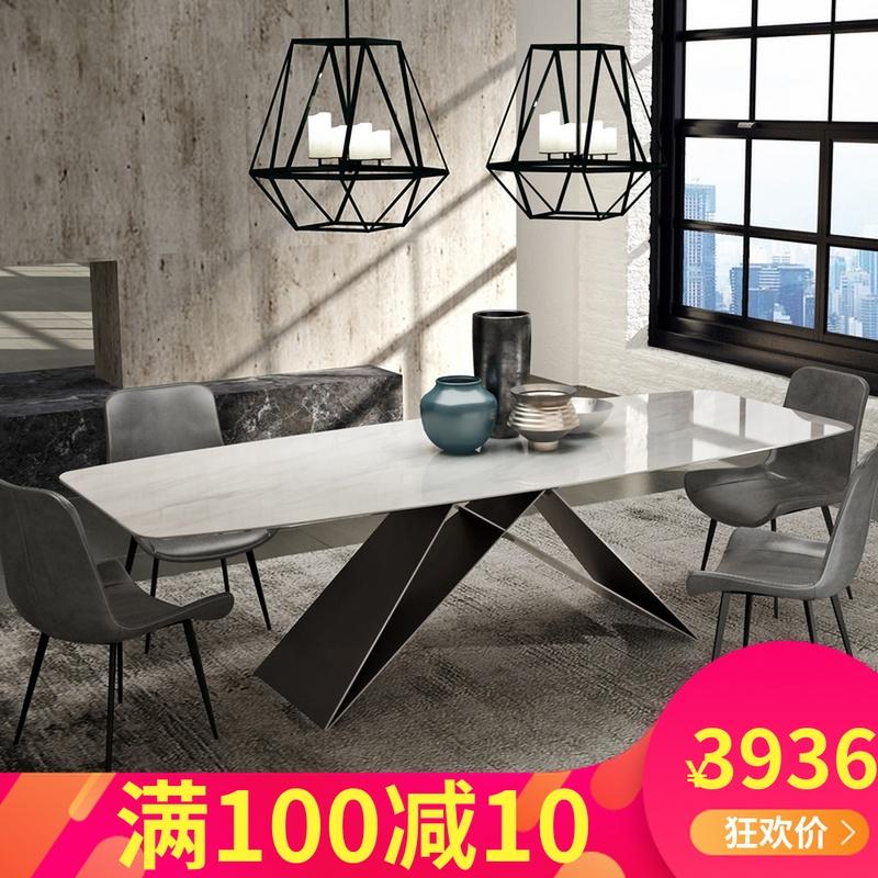 意式极简大理石餐桌椅组合吃饭桌子热销0件不包邮