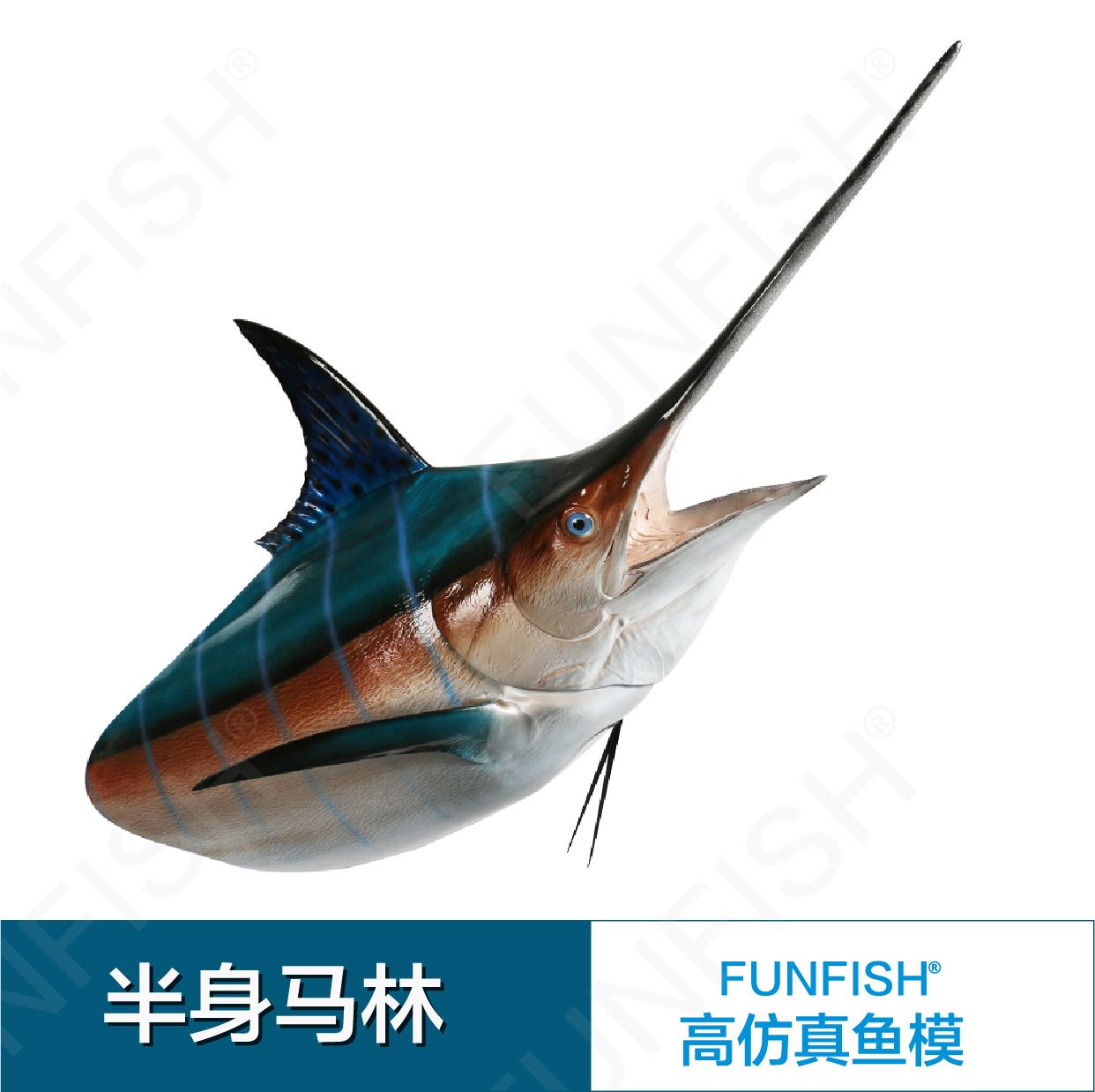 马林鱼模 半身马林 鱼模型 壁饰海洋 立体装饰品马林鱼模型装饰