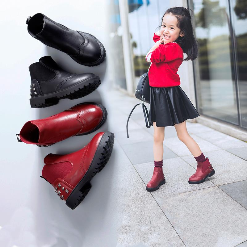 女童短靴儿童马丁靴单靴女时尚靴子2019年秋季新款英伦风网红女孩