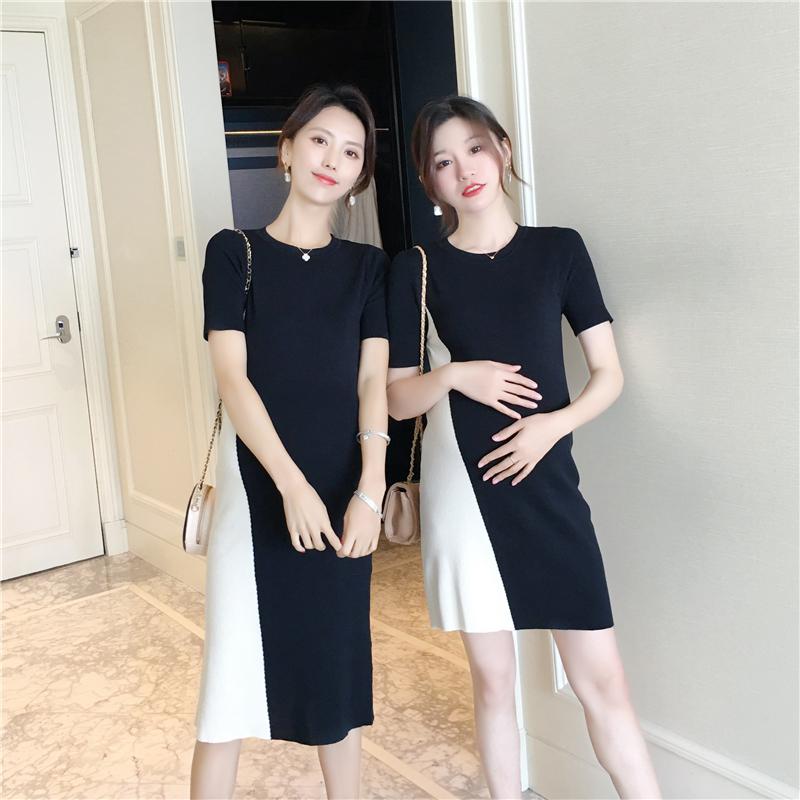 限时秒杀aroom孕妇夏季黑白撞色个性连衣裙