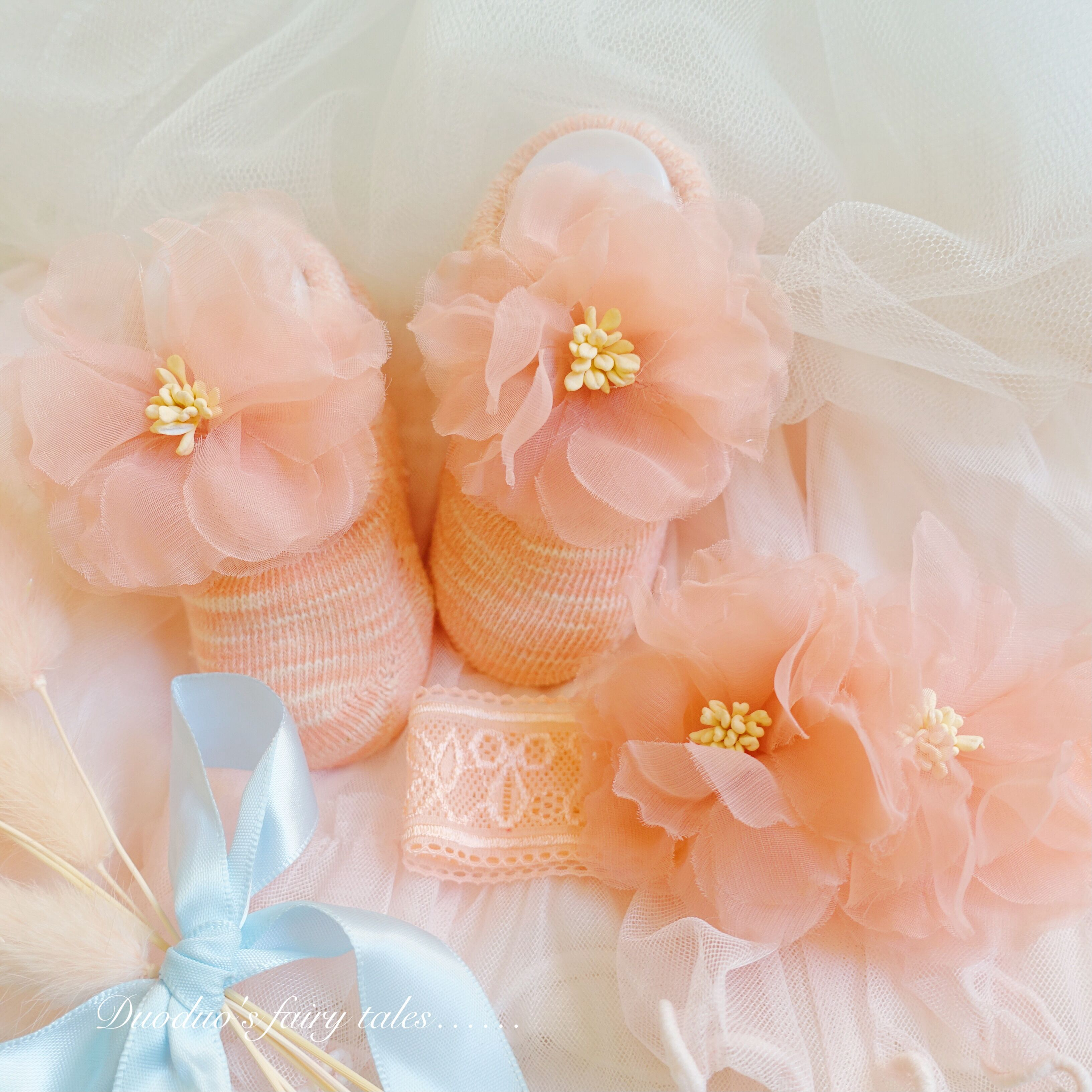 Baby hair with socks baby head flower boat socks accessories Century Gift orange powder suit light peach blossom