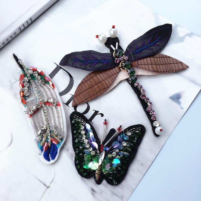 Высокий сила сетка ! ручной бисерный зеленый горный хрусталь ткань паста стрекоза бабочка дерево лист одежда декоративный DIY мода аксессуары