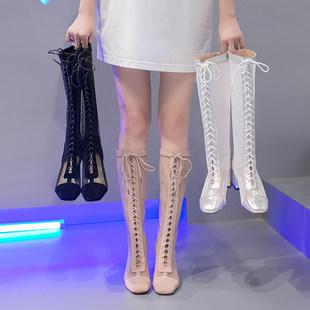 网红靴子女2019夏季新款百搭网纱镂空罗马粗跟凉鞋透气高跟长筒靴