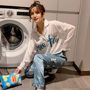 春秋睡衣女真丝长袖两件套ins韩版可爱卡通丝绸加大码开衫家居服