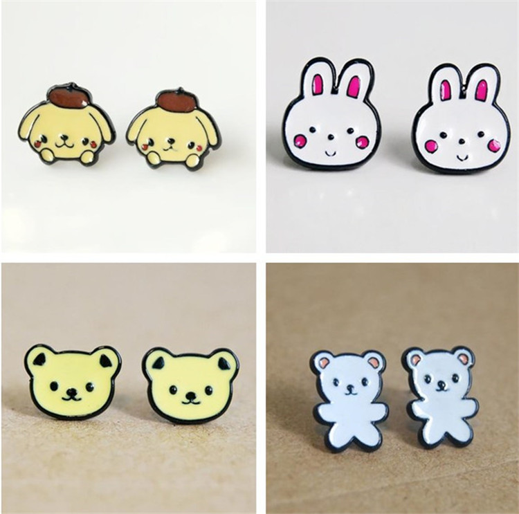 Korean cute cartoon animal modeling summer color oil dripping rabbit white bear yellow bear pudding Dog Earrings