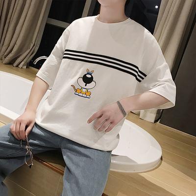 夏季短袖T恤男宽松圆领打底衫男装潮流刺绣衣服T209P38