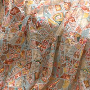 重工彩色珠片绣花网纱刺绣布料旗袍包裙连衣裙服装面料辅料