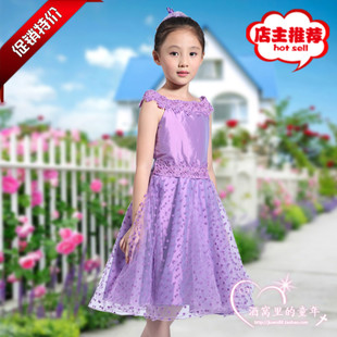 The new purple children girls princess dress shows flower piano birthday dress wedding dress tutu jumpsuit
