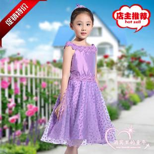 新款紫色儿/女童公主裙/演出/花童/钢琴/生日礼服蓬蓬连衣婚纱裙